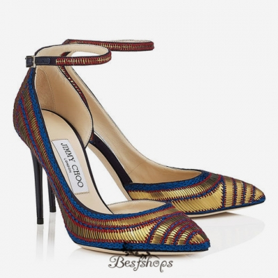 Jimmy Choo Navy Satin with Gold Pailettes Embroidery Pointy Toe Pumps 120mm BSJC7698528