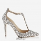 Jimmy Choo Nude Suede, Crystal Covered Pointy Toe Pumps 100mm BSJC3612928