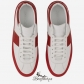 Jimmy Choo White and Russian Red Sport Calf Mix Low Top Trainers BSJC9888128