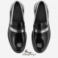 Jimmy Choo Black Shiny Calf and Silver Mirror Leather Loafers BSJC9874118