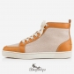 Rantus Mens Flat Cognac Brown Leather Canvas BSCL8391760